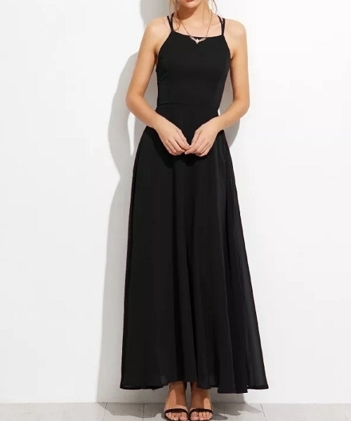 Picture of Lace Up Back Cami Long Dress - Black