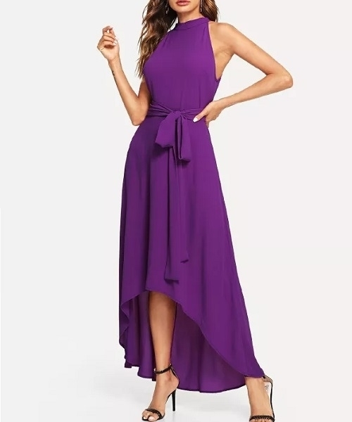 Picture of Asymmetrical Halter Neck Belted Long Dress