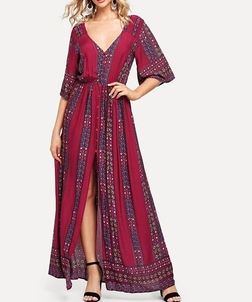 Picture of Bell Sleeve V neck maxi long dress