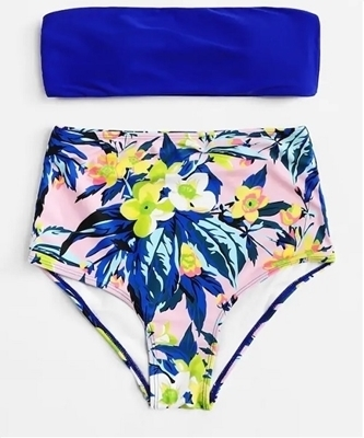 Picture of Floral print high waist bikini set