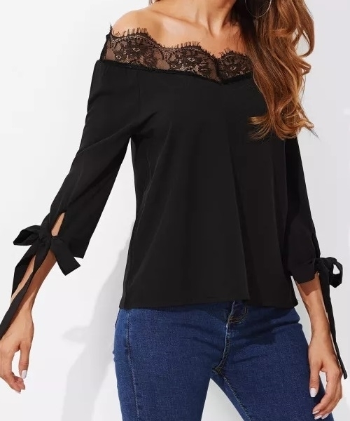 Picture of Lace Trim Bow Tie detail sleeve off Shoulder Top