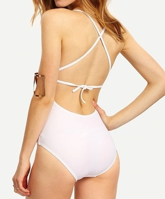 Picture of Crotchet cut out One piece swimwear- White