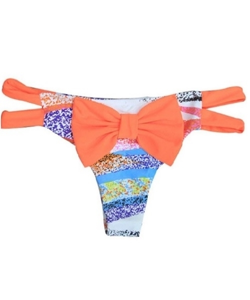 Picture of Bow Cut Out Brazilian Bikini Bottom Thong - Orange