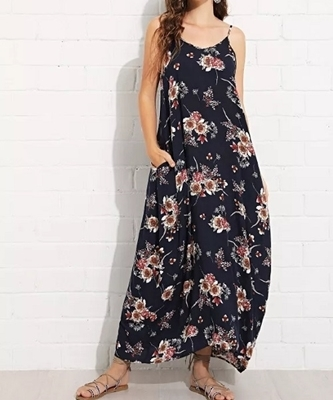 Picture of Floral Pocket Side Cami Maxi Dress