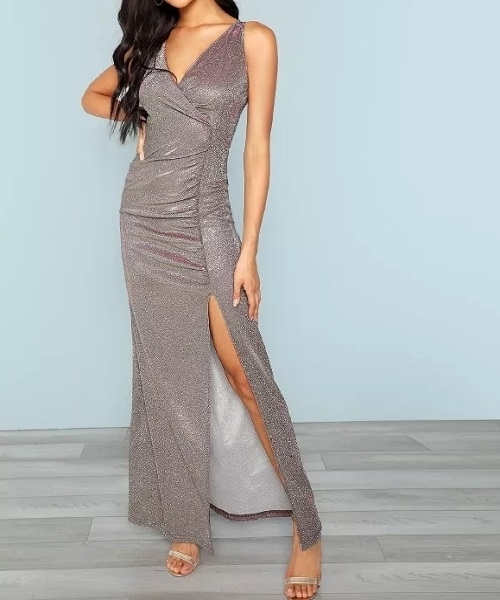Picture of Glitter Surplice Front Slit Evening Dress