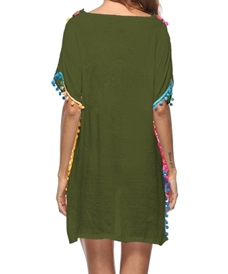 Picture of Crochet Colourful Pom Pom Hem Beach Cover Up - Army Green