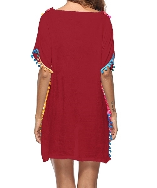 Picture of Beach Crochet Colourful Pom Pom Hem Beach Cover Up - Wine Red