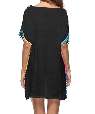 Picture of Crochet Colourful Pom Pom Hem Beach Cover Up -Black