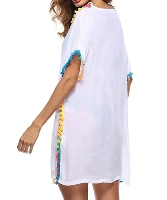 Picture of Beachwear Crochet Colourful Pom Pom Hem Beach Cover Up -White