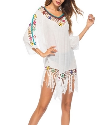 Picture of Crochet Fringe Hem Beach Cover Up -White