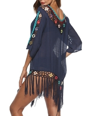 Picture of Crochet Fringe Hem Beach Cover Up -Blue