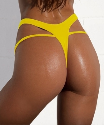 Picture of High Waist Brazilian Bikini Bottom-Yellow