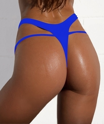 Picture of High Waist Brazilian Bikini Bottom-Blue