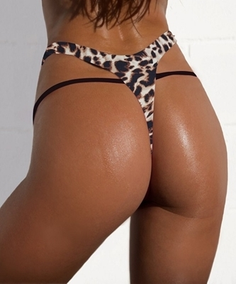 Picture of High Waist Brazilian Bikini Bottom-Leopard Print