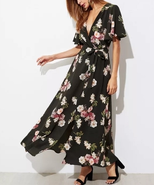 Picture of Floral Flutter Sleeve Surplice Wrap Maxi Long Dress