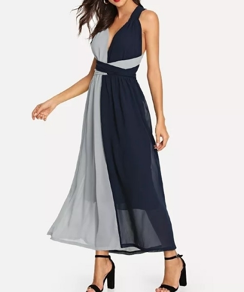 Picture of Two Tone Criss Cross Shell Dress