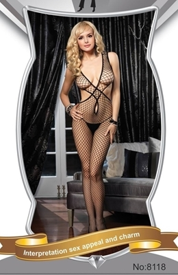 Picture of Fishnet Criss Cross front Bodystocking