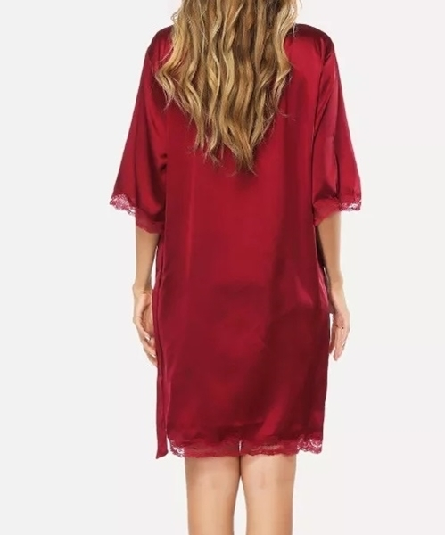 Picture of Lace Trim Night Robe - Burdandy/Dark Red