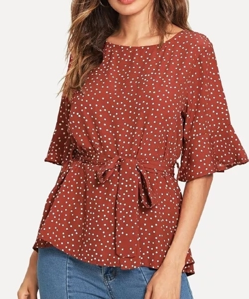 Picture of Polka Dot tie wrap Ruffle top