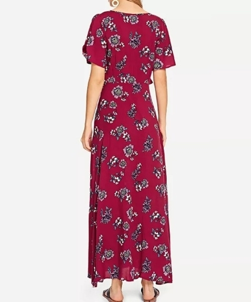 Picture of Knot Front Slit Side Floral Maxi Dress