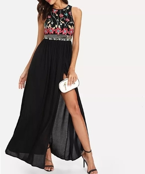 Picture of Bodice Flower Embroidered High Slit Dress