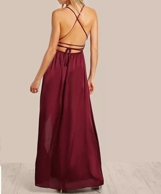 Picture of Satin Plunge Neck Crisscross Back High Slit Wrap Cami Long Formal Dress