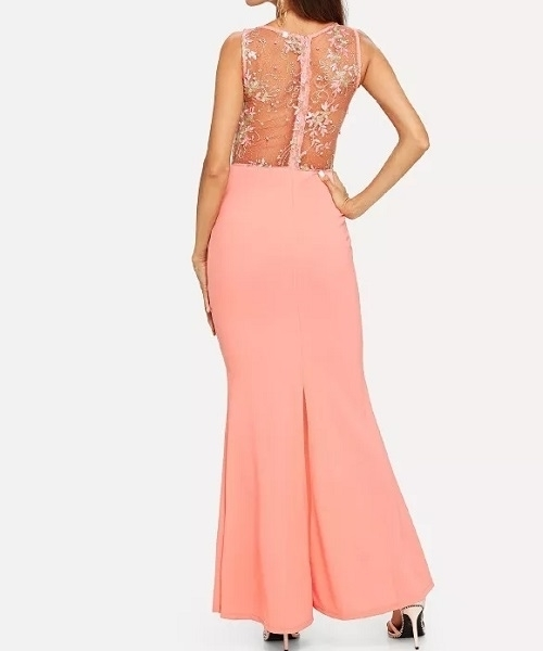 Picture of Bright Sheer Lace Bodice Pencil Dress