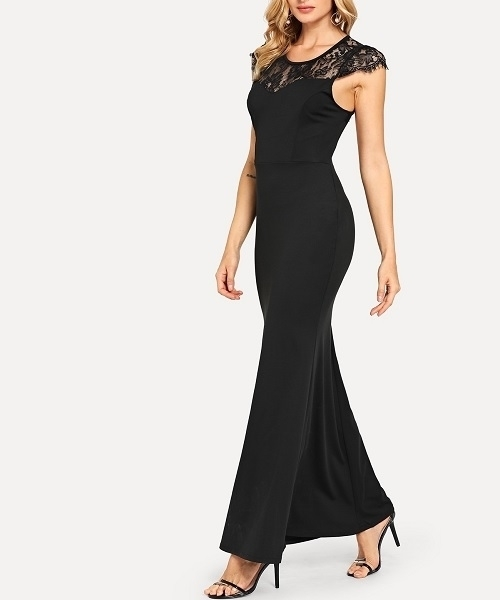 Picture of Lace Contrast Open back evening dress