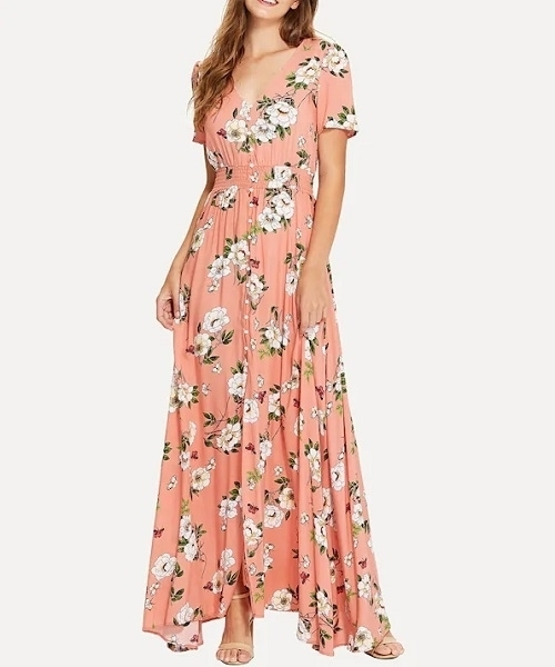 d2d9a5542a Picture of Floral Shirred Waist Floral Print Maxi Dress