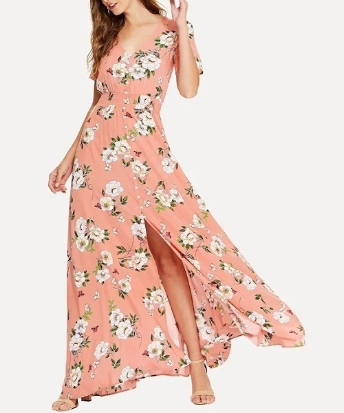 Picture of Floral Shirred Waist Floral Print Maxi Dress