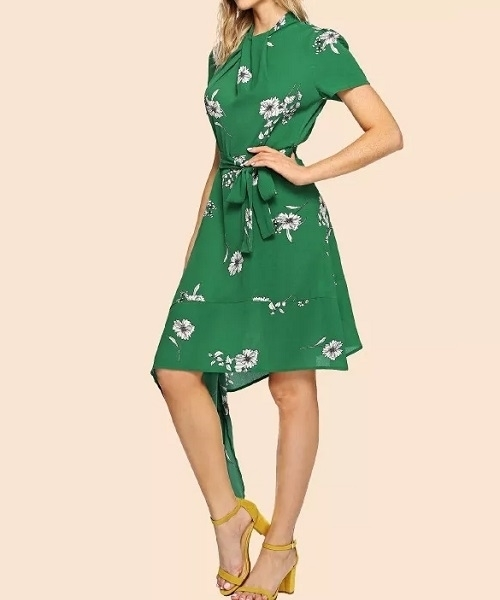 Picture of Asymmetric Twist Neck Belted  Floral Dress