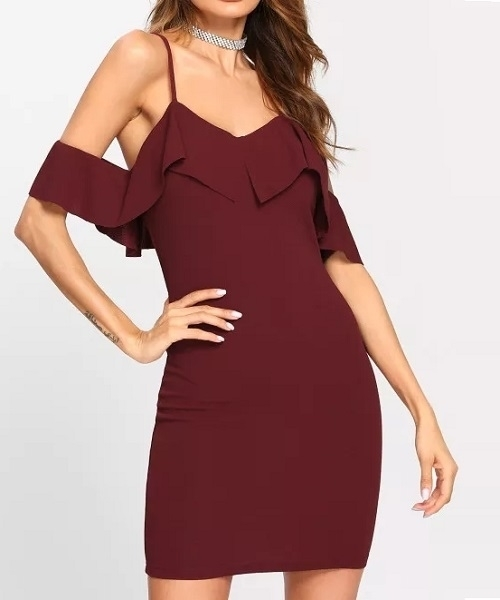 Picture of Off Shoulder Frill Party dress