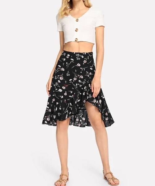 Picture of Floral Print Frill Wide Waist Skirt