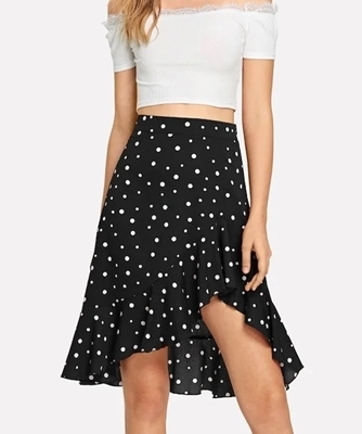 Picture of Dot Ruffle Dip Hem Skirt