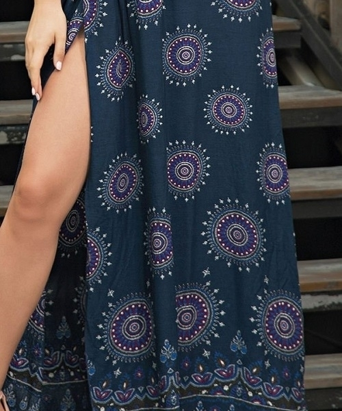 Picture of Geometric Tribal Print Cut Out Split Maxi Dress