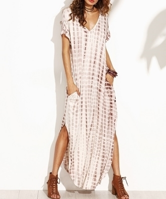 Picture of Curved Hem Tie Dye Print Split Maxi Long Dress