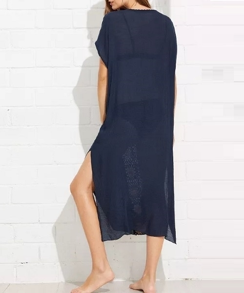 Picture of Beach Long-line V Neckline Hollow Out Cover Up