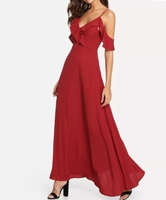 Picture of Ruffle Detail Off Shoulder Cocktail Dress