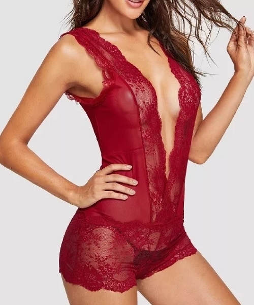Picture of Plunge Front Lace Teddy