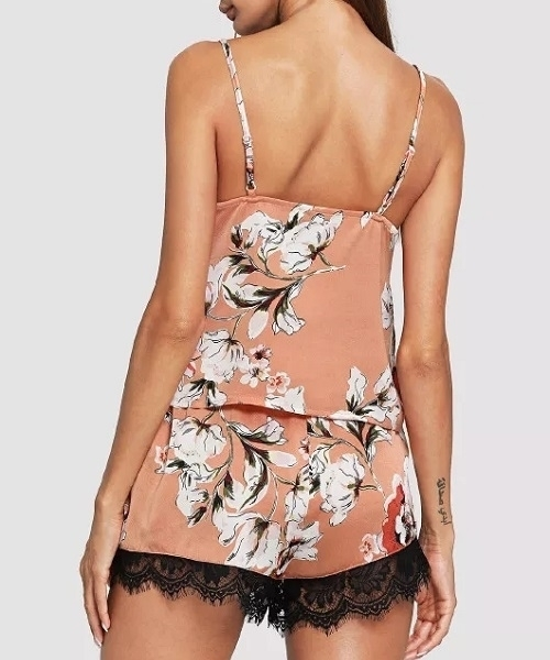 Picture of Lace Insert Floral Cami & Shorts Sleepwear