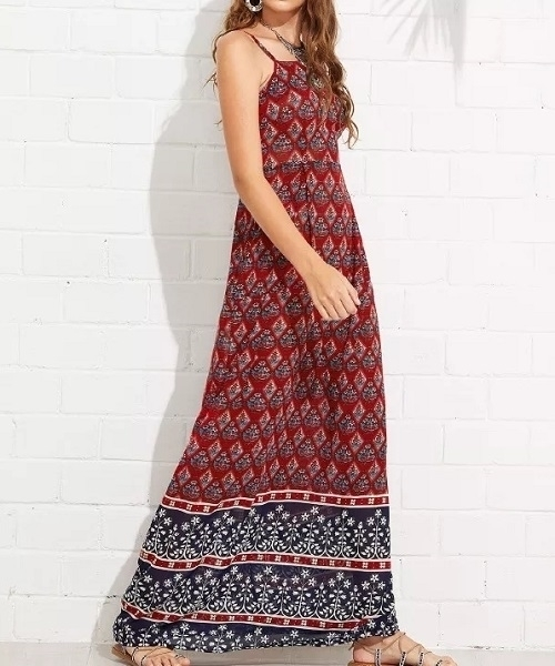 Picture of Geometric Print Maxi Cami Long Dress
