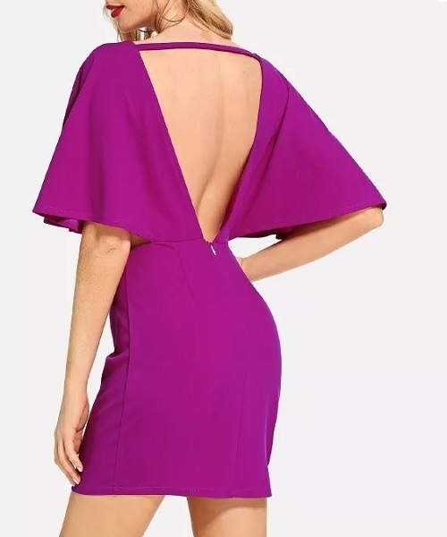 Picture of Cut Out V Back Batwing Sleeve Party Dress