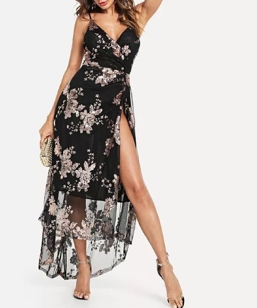 Picture of Cross Over  High Slit Sequin Evening dress