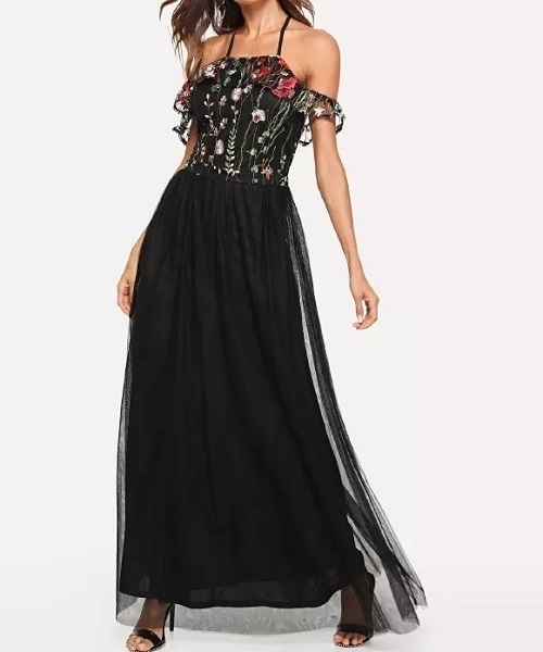 Picture of Cold Shoulder Embroidered Mesh Bodice Long Event Dress
