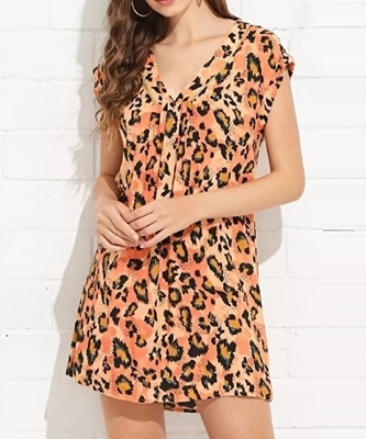 Picture of Bright V Neck Leopard Print Tunic Dress