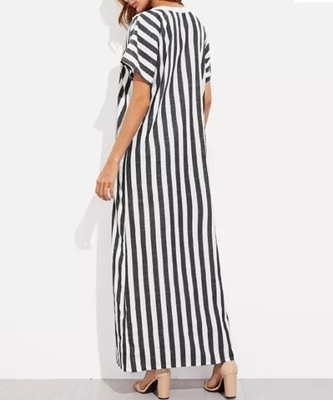 Picture of Striped Panel Front Maxi Long Dress