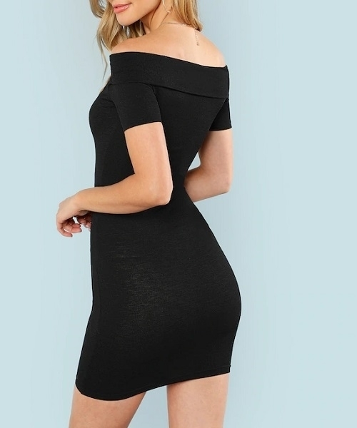 Picture of Off Shoulder V Cut Neck Cocktail Dress