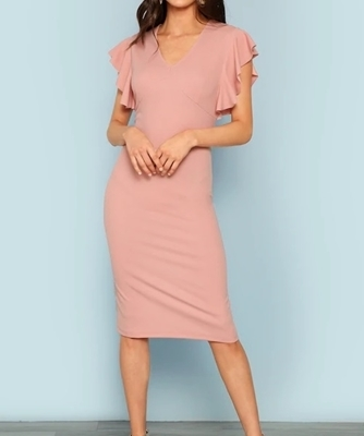 Picture of Ruffle shoulder sleeve Bodycon Dress