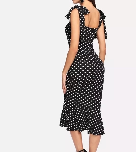 Picture of Dot Self Tie Shoulder Ruffle Hem Dress