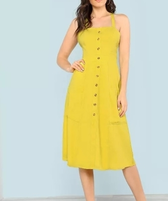 Picture of Crisscross Open Back Button Up Dress